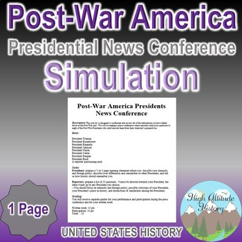 Post War Presidents News Conference Simulation (Government / Civics)