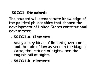 Government Civics Standards Georgia High School Printable