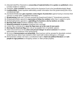 Government - Civil Liberties: 1st Amend. Freedoms Note Sheet