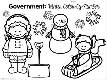 Government: Color-by-Number Activity (Winter Edition)