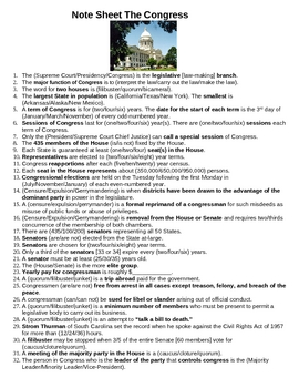 Government - Congress Note Sheet