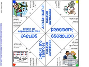 Branches of Government Cootie Catcher