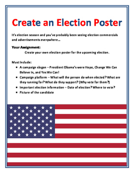 Election Day Activity - Vote For... Create an Election Poster Student Government