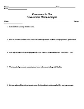 Government: End of the year Movie QUESTIONS for extra credit