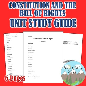 Constitution & Bill of Rights Unit Study Guide (Government)