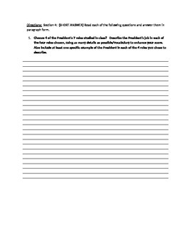 Executive Branch Unit Study Guide (Government)