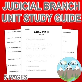 Judicial Branch Unit Study Guide (Government)