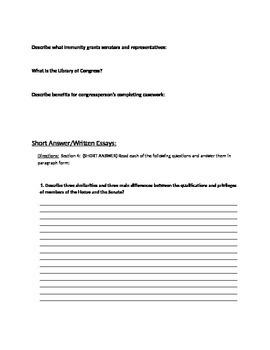 Legislative Branch Unit Study Guide (Government)