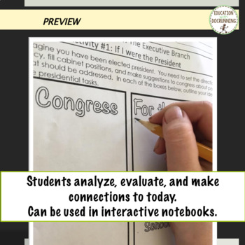 Government Executive Branch Notes with scavenger hunt plus 4 Activities