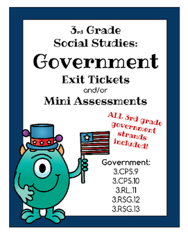Government Exit Slips / Mini Assessments - Third Grade