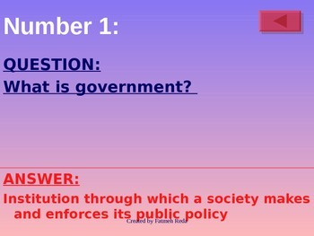 Government: Final Semester 100 concepts review game