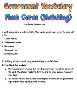 Government Flash Cards and Matching