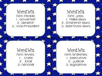 Government Game: Word Wiz {((Similar to Catch Phrase! Students Love It!))}