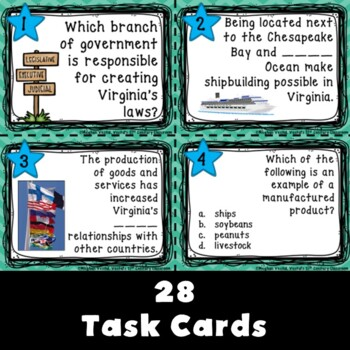 Government, Geography, & Economics: Virginia Studies Task Cards