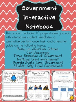 Government Interactive Journal: Great for Second Graders in Georgia!