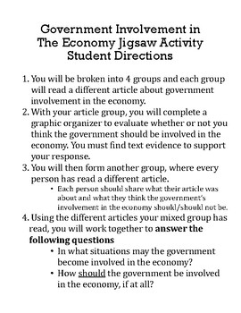 Government Involvement in the Economy Jigsaw Activity