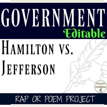 Government Jefferson versus Hamilton Rap Project EDITABLE
