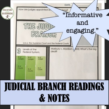 Government Judicial Branch Notes with scavenger hunt plus 5 Activities