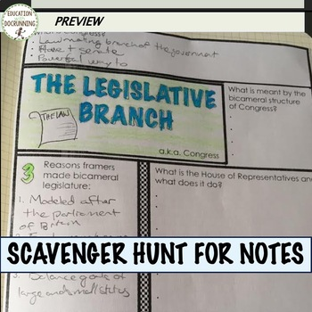Government Legislative Branch Notes with scavenger hunt plus 4 Activities
