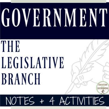 Government Legislative Branch Notes with scavenger hunt pl