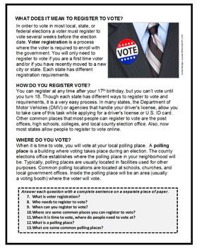 Government – Life Skills - Civics, VOTER REGISTRATION AND VOTING