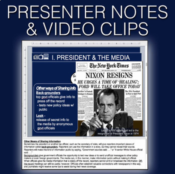 Government: Mass Media & the Internet PowerPoint w/Video clips & Presenter Notes