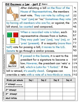 Government Nonfiction Fluency - Bill Becomes Law 2
