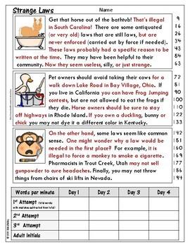 Government Nonfiction Fluency - Strange Laws