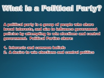 Political Parties & Two Party System PowerPoint (Government / Civics)