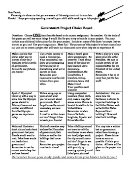 Government Project Choice Board for Third Grade Georgia Performance Standards