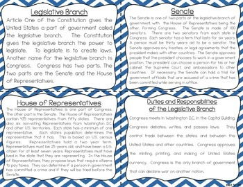 Government Reading Fluency & Comprehension Task Cards