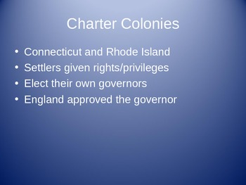 Government, Relgion, & Culture/Types of Colonies