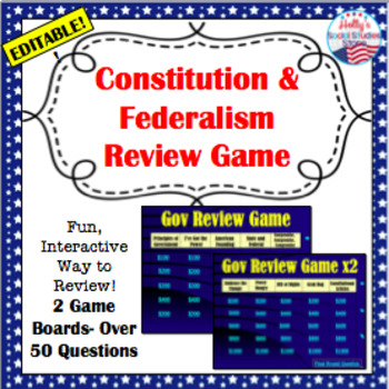 U.S. Government Review Game: Constitution and Federalism (editable)