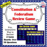 Constitution and Federalism Review Game: U.S. Government (editable)
