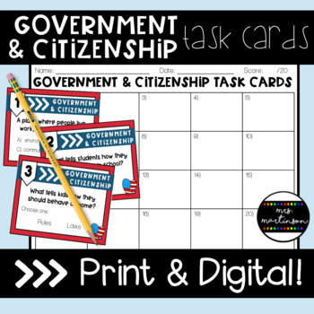 Government Review Task Cards--3rd Grade VA SOLs