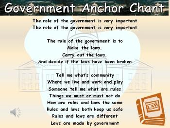 Government Role Song (Social Studies) Anchor Chart and Chant Audio King Virtue