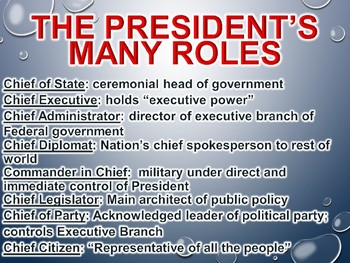 The Executive Branch (Roles of U.S. President)  PowerPoint (Government)