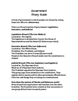 Government Study Guide - For Gov. Quiz