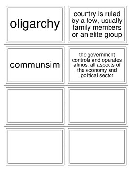 Government Task Cards - Six forms of govenment for flashcard review