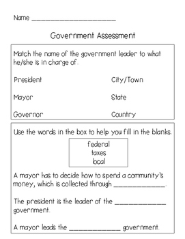 Government Test {Primary Grades}