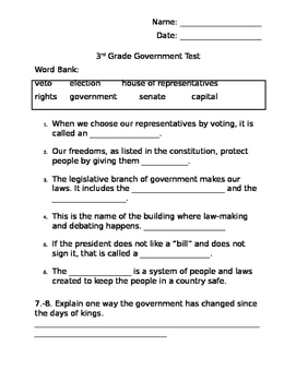 Government Test (3rd Grade)