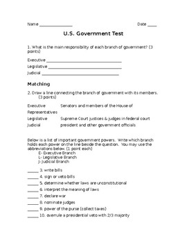 Government Test (Branches, How a Bill becomes a law & Bill