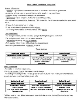 Government Test & Study Guide (ALL LEVELS)