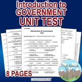 "Introduction to Government Test / Exam ""Americans & Roots of Democracy"""