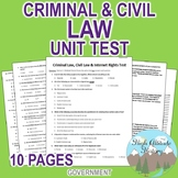 Criminal Law, Civil Law & Internet Rights Unit Test / Exam  (Government)