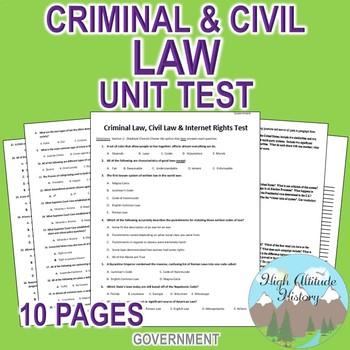 Criminal Law, Civil Law & Internet Rights Unit Test / Exam  (Government)