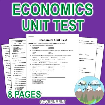 Economics Unit Test / Exam / Assessment (Government)
