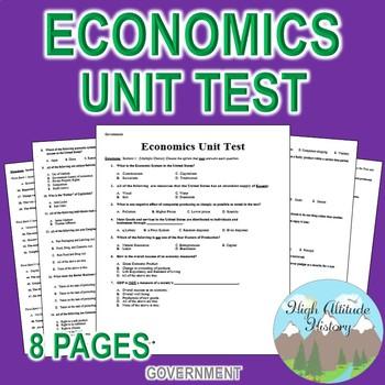Economics Unit Test / Exam / Assessment (Government)
