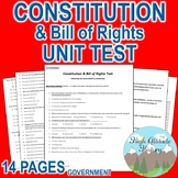 Constitution & Bill of Rights Unit Test / Exam / Assessment (Government)