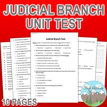 Judicial Branch Unit Test / Exam / Assessment (Government)